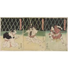 Utagawa Toyokuni I: Actors Nakamura Shikan (R), Matsumoto Kôshirô (C), and Iwai Hanshirô (L) - Museum of Fine Arts