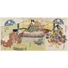 歌川豊国: Actors Seki Sanjûrô as Ranmaru (R), Bandô Mitsugorô as Harunaga (C), and Matsumoto Kôshirô as Mitsuhide (L) - ボストン美術館