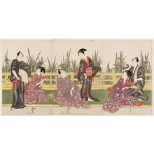 Utagawa Toyokuni I: Actors beside Iris Pond - Museum of Fine Arts