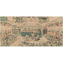 歌川豊国: Interior of a Kabuki Theater - ボストン美術館