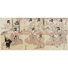 Utagawa Toyokuni I: Women with Performing Monkeys - Museum of Fine Arts