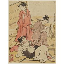 Hosoda Eishi: Women Relaxing on Veranda - Museum of Fine Arts