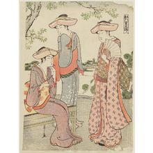 Hosoda Eishi: Three Women Visiting a Shrine, from the series Eight-layered Brocade in the Capital (Miyako yae no nishiki) - Museum of Fine Arts