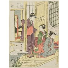 Hosoda Eishi: Women on Veranda - Museum of Fine Arts