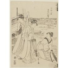 細田栄之: First Snow on the Sumida River (Sumidagawa hatsuyuki), from the series Eight Views of Edo (Edo hakkei) - ボストン美術館