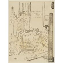 Hosoda Eishi: Brothel (Seirô, literally Green Pavilion), from the series Amusements of the Five Colors (Goshiki no asobi) - Museum of Fine Arts