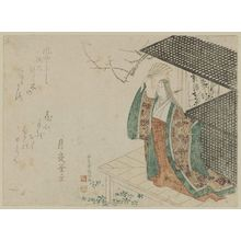 Kubo Shunman: Court Lady with Fan on Veranda - Museum of Fine Arts