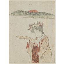 窪俊満: Palace Maidservant Looking at a Tanzaku - ボストン美術館