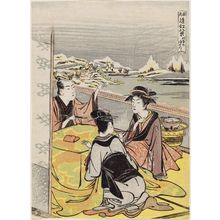 Kitao Masanobu: Twilight Snow at Mount Hira (Hira no bosetsu), from the series Fashionable Eight Views of Ômi (Fûryû Ômi hakkei) - ボストン美術館