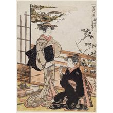 Kitao Masanobu: Evening Bell at Shômyô-ji Temple (Shômyô-ji no banshô), from the series Eight Views of Kanazawa (Kanazawa hakkei) - ボストン美術館