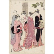 鳥居清長: A Matchmaking Meeting at a Teahouse by a Shrine - ボストン美術館