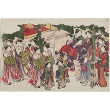 鳥居清長: First Costumes of the New Year (Kiso hajime), from the album Saishiki mitsu no asa (Colors of the Triple Dawn) - ボストン美術館
