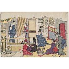Torii Kiyonaga: First Bath of the New Year (Yudono hajime), from the album Saishiki mitsu no asa (Colors of the Triple Dawn) - Museum of Fine Arts