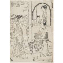 Torii Kiyonaga: A Modern Version of the Story of Ushiwakamaru Serenading Jôruri-hime - Museum of Fine Arts