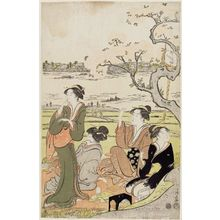 Torii Kiyonaga: Cherry Trees on the Banks of the Sumida River, a Pentaptych (Sumidagawa sakura no kei, gomai tsuzuki) - Museum of Fine Arts