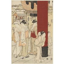 Katsukawa Shuncho: Niômon Gate at Sensô-ji Temple in Asakusa - Museum of Fine Arts