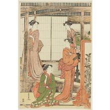 勝川春潮: Imaginary Version of the Yoshino River Scene in the Play Imoseyama - ボストン美術館