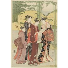 勝川春潮: Women Imitating the Seven Sages of the Bamboo Grove - ボストン美術館