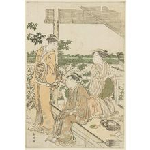 Katsukawa Shuncho: Women with Telescope at an Outdoor Tea Stall - Museum of Fine Arts