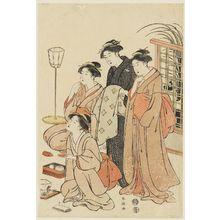 勝川春潮: 4 Women looking toward the left - ボストン美術館