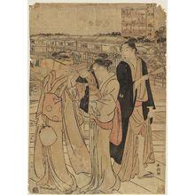 Katsukawa Shuncho: Poem by ?, from the series Enjoying the Cool of Evening on the Riverbed at Shijô in Kyoto (Miyako Shijô-gawara yûsuzumi) - Museum of Fine Arts