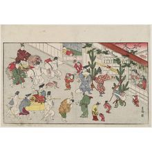 北尾政美: Street Scene at New Year, from the album Spring in the Four Directions (Yomo no haru) - ボストン美術館