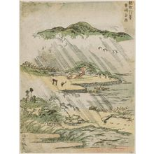 北尾政美: Night Rain at Karasaki (Karasaki yau), from the series Eight Views of Ômi (Ômi hakkei) - ボストン美術館