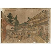北尾政美: Act II (Nidanme), from the series Perspective Pictures of the Storehouse of Loyal Retainers, a Primer (Uki-e Kanadehon Chûshingura) - ボストン美術館