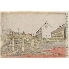 Kitao Masayoshi: Nihon Bridge as Seen from Edo Bridge (Edobashi yori Nihonbashi o miru zu), from the series Perspective Pictures (Uki-e) - Museum of Fine Arts