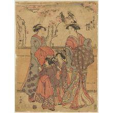 勝川春潮: Takigawa of the Ôgiya, kamuro Menami and Onami - ボストン美術館
