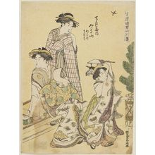 Katsukawa Shuncho: Misayama of the Chôjiya, kamuro Wakaba and Teruha, from the series Mountains and Rivers among the Courtesans of the Yoshiwara (Yoshiwara yûkun sansen shu) - Museum of Fine Arts