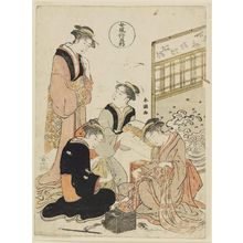 Katsukawa Shuncho: Sewing, from the series Five Patterns of Women's Customs (Onna fûzoku gogyô) - Museum of Fine Arts