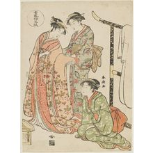 Katsukawa Shuncho: Bride Changing Clothes, from the series Five Patterns of Women's Customs (Onna fûzoku gogyô) - Museum of Fine Arts