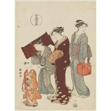 Katsukawa Shuncho: Taking a Child to a Lesson, from the series Five Patterns of Women's Customs (Onna fûzoku gogyô) - Museum of Fine Arts