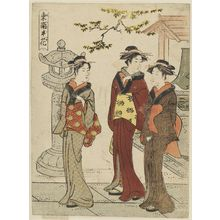 勝川春潮: Women at a Temple, from the series Flowers of Fukagawa (Tatsumi no hana) - ボストン美術館