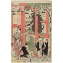 Katsukawa Shunzan: At gate of temple, visitors in foreground - statue behind them. - Museum of Fine Arts