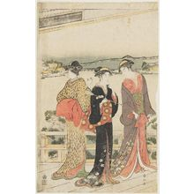 Katsukawa Shunzan: On veranda of teahouse overlooking the sea. Triptych. - Museum of Fine Arts