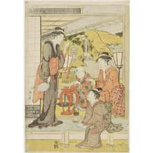 Katsukawa Shunzan: Three women and child on veranda - Museum of Fine Arts