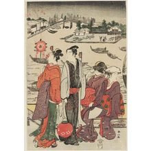Katsukawa Shunzan: Watching Fireworks at Ryôgoku Bridge - Museum of Fine Arts