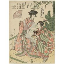 Katsukawa Shunzan: New Year Manzai Dance by Kamuro (Shôgatsu kamuro manzai), from the series The Manzai Dance at the Niwaka Festival in the Pleasure Quarters (Seirô manzai Niwaka) - Museum of Fine Arts