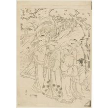 Katsukawa Shunzan: Gathering at foot of hill near stairs up to shrine - Museum of Fine Arts
