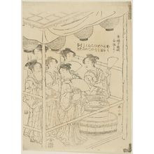 Katsukawa Shunzan: Vendors of White Sake (Shirazake uri), from the series The Manzai Dance at the Niwaka Festival in the Pleasure Quarters (Seirô manzai Niwaka) - Museum of Fine Arts