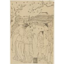 Katsukawa Shunzan: Gathering on top of hill overlooking shrine - Museum of Fine Arts