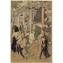 勝川春山: Visiting a temple - ボストン美術館