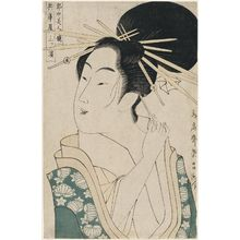鳥高斎栄昌: Mitsuhama of the Hyôgoya, from the series Contest of Beauties of the Pleasure Quarters (Kakuchû bijin kurabe) - ボストン美術館