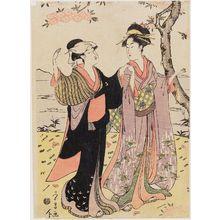 鳥高斎栄昌: Women Viewing Cherry Blossoms - ボストン美術館