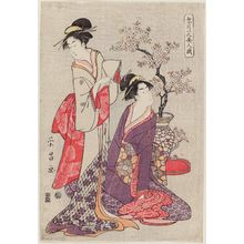 鳥高斎栄昌: Women with Potted Cherry Tree, from the series Snow, Moon, and Flowers in the Amusements of Beauties (Setsugekka bijin tawamure) - ボストン美術館