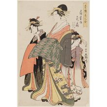 Chokosai Eisho: Hanaôgi of the Ôgiya, kamuro Yoshino and Tatsuta, from the series Comparison of Beauties of the Pleasure Quarters (Seirô bijin awase) - Museum of Fine Arts