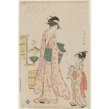 Chokosai Eisho: Woman speaking to young girl, fountain in background - Museum of Fine Arts