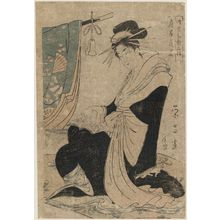 Chokosai Eisho: Hanaôgi of the Ôgiya, from the series Courtesans as the Three Dieties of Japanese Poetry (Yûkun waka sanjin) - Museum of Fine Arts